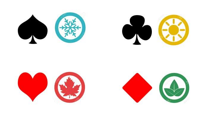 empat musim simbol kartu remi