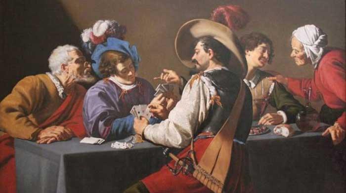 illustrasi orang eropa bermain kartu
